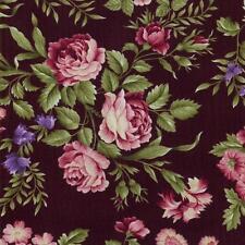 RJR Giselle Marianne Elizabeth Floral Rose Quilt Fabric Black Pink Brown Purple