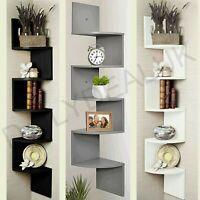 5 Tier Wood Floating Wall Shelves Corner Shelf Storage Bookcase Zig Zag Unit