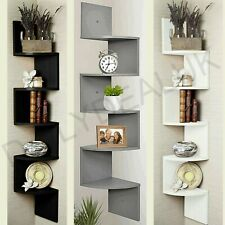 5 Tier Wood Floating Wall Shelves Corner Shelf Storage Bookcase Zig Zag Unit