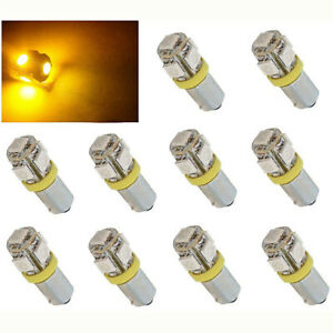 (10) Yellow Amber 5-LED Dash Panel Cluster Gauge Clock Glove Box Light Bulbs 293