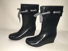 *NIB* Khombu 'Lacey' Waterproof Wedge Heel Rain Boots - Women's 9 Black