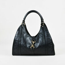 "Gucci Black Guccissima Leather ""Bardot"" Gold Tone Shoulder Bag"