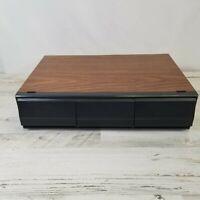 Vintage Black Audio Tape Music Cassette Storage Holder Case Holds 36 Faux Wood