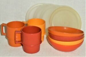 Lot/12 Vtg. Tupperware Children's TOY DISHES BOWLS & CUPS / MUGS Harvest Colors