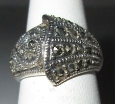 Marcasite Ring Sterling 925 Silver 6.75 Beautiful Vintage Costume Thailand Used