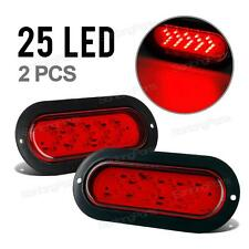"(2) 6"" Oval Red 25LED Arrow indicator Turn Signal light for Truck Trailer Bus RV"