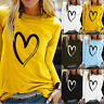 Women Long Sleeve Blouse Jumper Ladies Casual Loose Heart Pullover Tops T Shirt