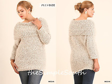 New UMGEE Mocha Fuzzy Chunky Popcorn Knit Off-The-Shoulder Sweater Tunic Top XL