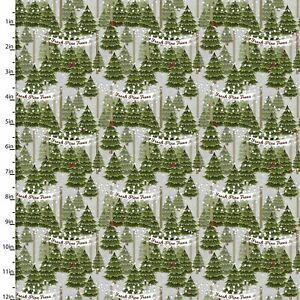 3 WISHES HOME FOR THE HOLIDAYS CHRISTMAS TREES ON GREY 100% COTTON 18108-GRY