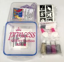 GLITTER TATTOO KIT Princess 132 Stencil 4Puffers 2 Glue Gift Box