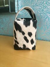 Black & Ivory Faux Cow Fabric Door Stop Gift for Man or Woman Present