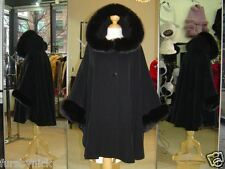 Black Cashmere Hooded Jacket With Fox Fur Trim Beautifully Canadian Label
