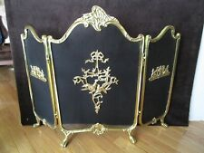 Brass French Victorian Design Fireplace Screen folding 3 panel footed 41¾� W Vtg