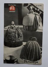 1950s W.B Knitting Pattern (K1534). 3 x Tea Cosies. 2 Ladies. Kitchen/ Hand-Made