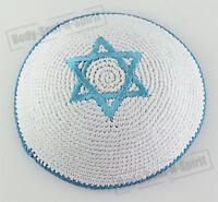 Kippa crochetée étoile de David BLEUE CIEL ethnique traditionel yarmoulke juif