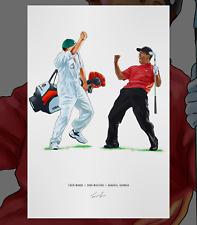 Tiger Woods 2005 Masters Augusta Georgia Illustrated Print Poster Art