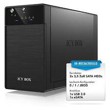 """ICY-BOX IB-RD3620SU3 RAID/JBOD Gehäuse f. 2x 3,5"""" SATA Festplatten USB3.0, eSATA"""