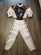 Vintage Retro 90s East West Tracksuit Jacket And Bottoms/Pants White Bejeweled-M