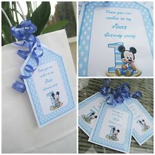5 x Personalised MICKEY MOUSE FIRST BIRTHDAY Party Bag tags PARTY BAG LABELS