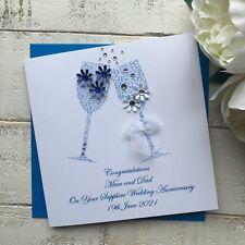 Handmade Personalised 45th Sapphire Wedding Anniversary Card Mum Dad Nan Grandad