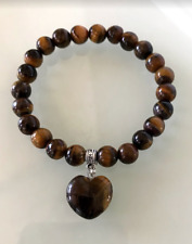 UK Beautiful Tigers Eye Love Heart 8mm Gemstone Crystal Beaded Bracelet.