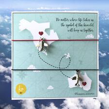 Distance Love 2pcs Red String Couple Bracelet Adjustable Handmade Gift Airplane