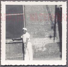 Vintage Snapshot Photo Black Man in White Uniform 693762