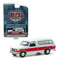 GREENLIGHT 1/64 1994 WHT/RED FORD F-150 XLT PICKUP W/CAMPER SHELL DIECAST 35160E
