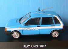 FIAT UNO 45 1987 POLIZIA 1/43 DEAGOSTINI POLICE 1:43 BLEU AZUR BOITIER BLISTER