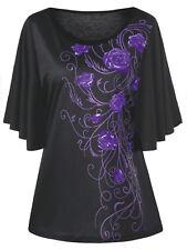 XL-5XL Women Hot Blouse T-Shirt Tops Plus Size Tiny Floral Drape Sleeve Casual