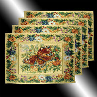 SET OF 4 FRENCH COUNTRY FLORAL BUTTERFLY TAPESTRY DECO TABLE LINEN PLACEMATS