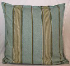 "Cushion Cover green blue olive stripe print 100% cotton zipped 18""X18"" FREE p&p"