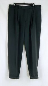 NWOT Haggar Gray Pinstripe Men's Pleated Cuffed Pants Polyester 36X30