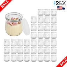 7 OZ Glass Jar, 40 Pack Yogurt Pudding Jars with PE Lids New