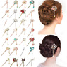 Chinese Style Metal Rhinestone Hair Chopsticks Hair Stick Hairpin Chignon Pin L7