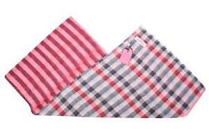 Seaward & Stearn NWT Cotton / Linen Scarf In Red, White and Blue Plaid