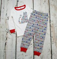 Gymboree 2 piece Pajama Set Girls 2T Christmas Holiday Cat Top Bottoms Gray Red