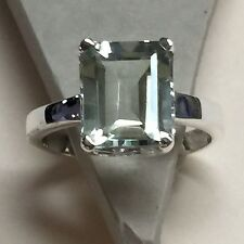 Natural Emerald Cut 4ct Green Amethyst 925 Solid Sterling Silver Ring sz 7