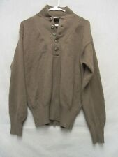 V6671 DSCP Mitts Nitts Man's OD Brown Acrylic 1/2 Button Up Sweater Men's L