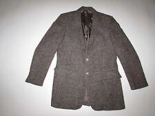 Harris Tweed Mens Blazer Size 40 Long Gray Brown White 100% Wool 40L Coat Jacket