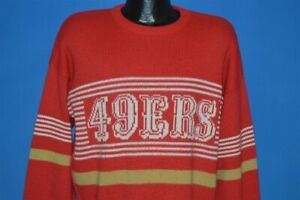 vintage 80s SAN FRANCISCO 49ERS CLIFF ENGLE NFL FOOTBALL RED PULLOVER SWEATER L