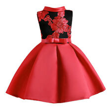 Child Girls Princess Dress Kids Party Flowers Embroidery Wedding Formal Dress CA