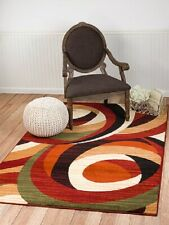 Contemporary Area Rug Red Black Red Multi Colored Abstract Carpets Large Rugs