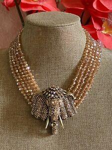Heidi Daus Chic Sheik Elephant  Crystal Drop Necklace SoldOut