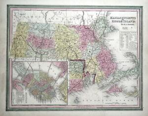 MASSACHUSETTS, RHODE ISLAND, USA, State map H.S.Tanner Original Antique Map 1844