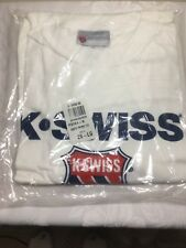 Vintage Mens 2XL 90s K-SWISS Classic Brand Logo Solid white T-Shirt