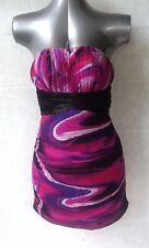 Miss Anne Bodycon Mini Dress Strapless with Ruching, Purple Pink Black Sz S - 8