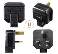 2 x Permaplug 13 Amp Rubber Heavy Duty Plug 13A Mains Electrical 3 pin Black