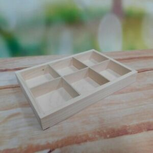 Wooden Display Shelf with Compartments Tray Drawer Organiser 6 Dividers Drawer