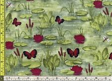 Susan Wheeler Red Butterfly Sunny Pond 100% Cotton Fabric 1/4 yard 22.5 cm